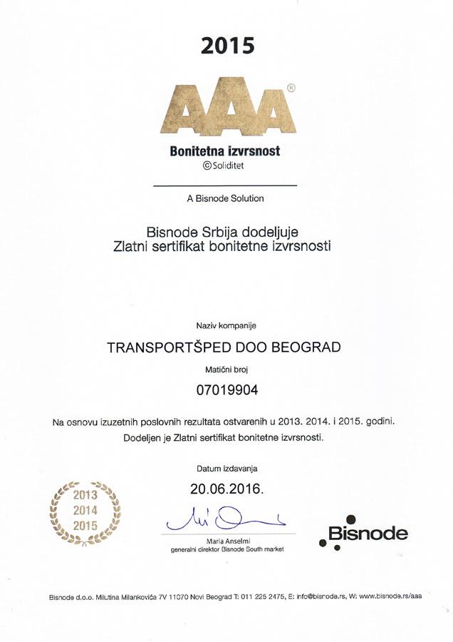 Zlatni sertifikat boniteta izvrsnosti 2015
